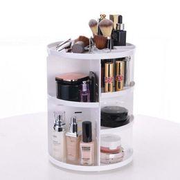 estante de la caja de lápiz labial Rebajas Blanca 1PC 360 grados que giran cosmético labial de almacenamiento en rack caja de la joyería soporte de exhibición cosmético caja de maquillaje Organizador