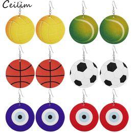 Trendy Spor Topu Baskı Gözyaşı Dangle Deri Küpe Basketbol Vollyball Evil Mavi Göz Hafif Yuvarlak Spor Dangle Kulak için Lady nereden