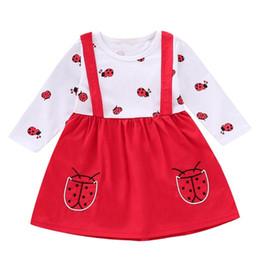 2019 платья с длинным рукавом для малышей Puseky малыш дети девушки Божья коровка печати платье дети платья с длинным рукавом футболки Ruched наряды набор дети осенние платья скидка платья с длинным рукавом для малышей