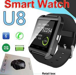 relojes de pantalla táctil Rebajas Bluetooth U8 SmartWatch Relojes de pulsera Pantalla táctil para iPhone 7 Samsung S8 Android Teléfono Monitor para dormir Reloj inteligente con paquete al por menor
