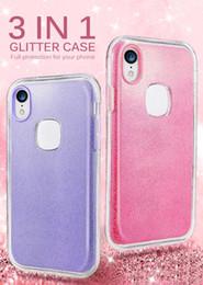 Capas de telefone bling lg on-line-Hybird 3in1 claro brilhante brilho caixa do telefone para o iPhone 11 x xr xs Pro máximo 8 mais A10E A20 casos silicone cobertura completa de bling A30 PC