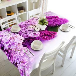 Flores azules de navidad online-Mantel 3D Púrpura Lila Patrón de Flores de Poliéster a prueba de polvo Mantel de Navidad Cena Decoración de la Mesa Cubierta de la tela