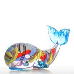 Pequenos animais de vidro on-line-Cor criativa baleia pequena casa de vidro pose animal pequena escultura decoração artesanato