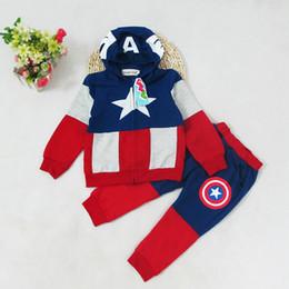 Costumes de capitaine en Ligne-vêtements de designer pour enfants garçons Captain America Hoodies costumes Tops + Pantalons 2pcs / set bébé Avengers Superhero cosplay Hoodies Veste pantalon M147