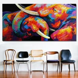 imagens de colorful animal Desconto 1 Painel de Parede Pintura Decorativa Colorido Dois Elefante Arte Abstrata Canvas Art Print Poster Para Sala de estar Cuadros Fotos Sem Moldura