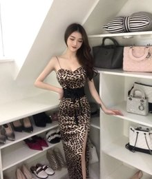 ff759ad97dc8 Summer Korean Leopard Sexy Women Clothing Nightclub Wear Sling Sexy  Splitting Slim Evening Show Dress Long Skirt QC0199