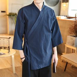 Kimono di cotone uomo online-# 0513 Giacca Primavera Estate Cotone Lino Mens Cardigan Vintage Streetwear Kimono rivestimento degli uomini di stile cinese si slaccia più