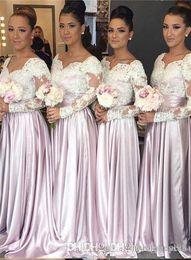 2019 свадебные платья A Line Дешевые V-образным вырезом с длинным рукавом плюс Размер Румяна Розовые Платья Невесты Длинные Изображения ЮАР Платья Maid Of Honor 2019 дешево свадебные платья