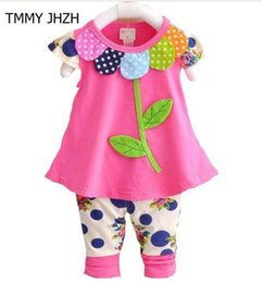 6e5a19993af9 Summer Kids Baby Girl Clothing Sets Fashion Floral T-shirts Tops + Pants  Leggings 2pcs Cute flowers Children Outfits Girls Set