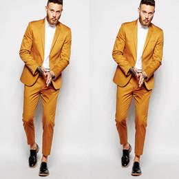 Canada Groom Orange Wear One Button Tuxedos Mariage Hommes 2 Pièces Encolure Revers Jeunes Costumes Vêtements cheap orange clothing Offre