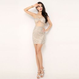 short vintage special occasion dresses Promo Codes - 2019 Cheap sexy sheath prom dresses see through with beaded crystal cheap In Stock Special Occasion Dresses Cocktail Party Dresses