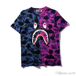 Camiseta deportiva camo online-18ss Camisetas de diseñador para hombre Un baño Ae Ape Camisetas SHARK Cabeza Camo camiseta de algodón Camiseta deportiva HIP HOP Vetements cortos