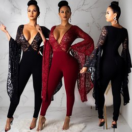 88a2d1fac7f See Through Lace Black Sexy Party Jumpsuits 2019 Latest Deep v Neck Puffy Long  Sleeves Skinny Pants Rompers Club Night Out Jumpsuits