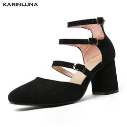 17c8d2d892b0 Karinluna New Big Size 32-43 Talons Carrés Cheville Sangle Chaussures Femmes  Gladiateur D'été Sandales Bottes Chaussures Femme tailles 32 chaussures ?  ...