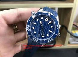 Placcatura in gomma online-Best seller Mens VS Co-Axial 300M Bond svizzero CAL.8800 42mmX13.5mm Movimento automatico blu quadrante in ceramica quadrante orologio da uomo in gomma