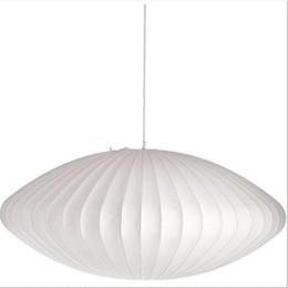 Pendente chiaro delle bolle online-Moderna D60cm George Nelson Bubble Lamp bianca seta UFO Ball Pendant Light White Replica E27 seta lampade a sospensione Lampada bianca Lampada a sospensione