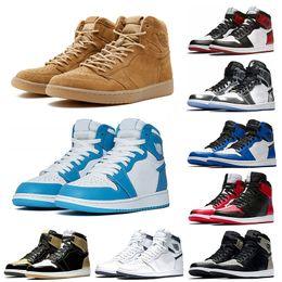 tops roxos Desconto 2019 1 s Mens tênis de basquete top Pine Green Tribunal Roxo Chicago 1 Jogo Azul Royal sportsboard sneaker formadores tamanho 7-13