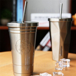 Bicchieri Starbucks con cannuccia in metallo Bicchiere in acciaio inox Tappo sottovuoto Tazza termica Tazza da viaggio Thermos da