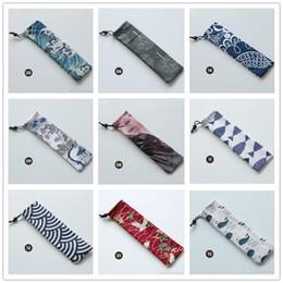 Tenedor japonés online-Bolsa de almacenamiento de vajilla portátil de estilo japonés Bolsa de cubiertos con cordón de viaje Estuche portátil para cuchara de paja Tenedor Cuchillo