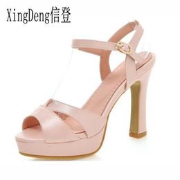 d4cf8c783c XingDeng Mujeres Open Toe Suede Office zapatos de tacón alto zapatos de la  sandalia Tamaño 32-43 Moda para mujer de plataforma gruesa hebilla del  cinturón ...