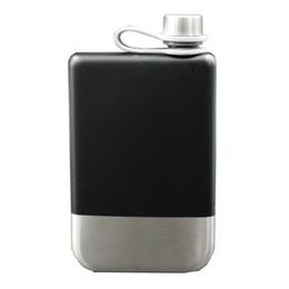 9 oz de aço inoxidável 304 Hip Flask uísque garrafa de vinho álcool bolso Flagon para presentes de Fornecedores de pintura preta mate