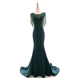 Canada Abiye Vert Émeraude Sirène Longue Robes De Soirée Perlé Cristal Robes De Soirée Vintage Plus La Taille Du Moyen-Orient Abendkleider Offre