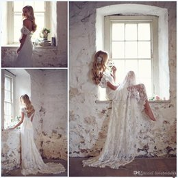 2019 chiffon- spitzekurzschlußansatz-hochzeitskleid 2017 spitze Brautkleider Abgestimmt Bogen Weiß Elfenbein Maß Elegante Brautkleider Perlen Flügelärmeln V-ausschnitt Gericht zug