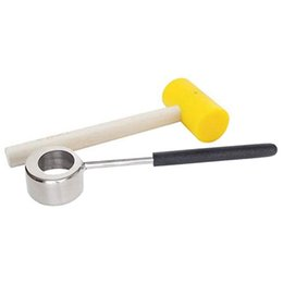 Gomme usate online-Coconut Opener Tool Set commestibile 304 in acciaio inox apriscatole con maniglia di legno Martello di gomma di facile uso durevole Strumenti gadget da cucina