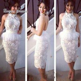 Kleidet coctail online-Mantel Ärmel Weiß knielangen Coctail Abendkleider Abendkleid plus Größe formale Partei tragen Backless mit Feder