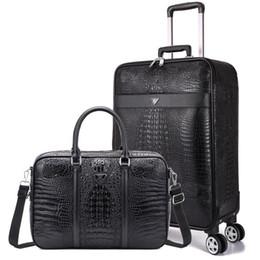 bloqueo de equipaje de dibujos animados Rebajas Juego de 2 maletas, caja de embarque Business de 20 pulgadas, maleta con ruedas universal, equipaje de grano de cocodrilo, baúl de viaje de 24 pulgadas
