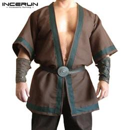 ropa renacentista Rebajas INCERUN Vintage Cloak Camisa de vestir para hombre de algodón Medieval Renacimiento Viking Túnica Camisas de manga larga Tops masculinos Camisas ropa