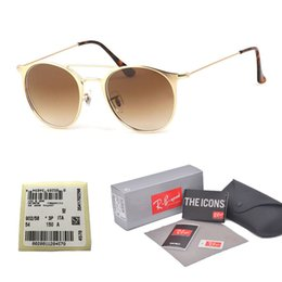1706892014 Top quality gradient Glass lens Brand Designer Round sunglasses men women  metal frame Sport Vintage sun glasses With Original case and label vintage  cat ...