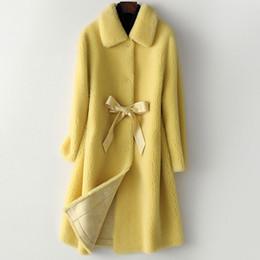 2019 doppelte gesichtspelz New Granule Cashmere Coat Frauen Herbst und Winter 2019 Fashion Compound Double-faced Fur Oberbekleidung Mittellange Wolle Wintermantel günstig doppelte gesichtspelz