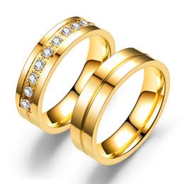 bandes de fiançailles pour les femmes Promotion bagues de fiançailles or couple alliances bagues pour femmes / hommes amour acier inoxydable CZ promesse bijoux luxe designer bijoux femmes bague