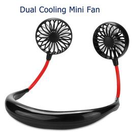 2019 USB Portátil Recarregável Pescoço Preguiçoso Pescoço Pendurado Dupla Refrigeração Mini Ventilador esporte 360 graus de rotação pendurado no pescoço fã de