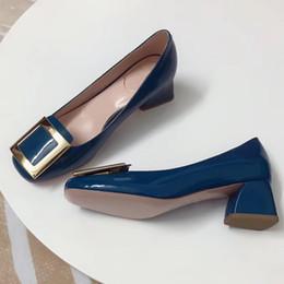 2019 bombas para calçado Mulheres Sapatos De Salto Alto Europeu Marca Designer Chunky Sapatos de Couro Genuíno Calçado Confortável Senhoras Bombas De Luxo bombas para calçado barato