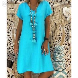 2019 roupas de senhoras de estilo boêmio Chegada Mulheres Summer Beach Feminino Vestido T-shirt de algodão Casual Plus Size Ladies Bohemian Vestidos vestido estilo roupas de grife roupas de senhoras de estilo boêmio barato