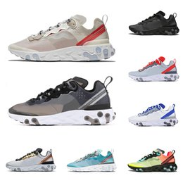gold elements Coupons - 2019 React Element 55 87 running shoes for men women Sail triple black Metallic Gold fashion mens trainers lightweight sports sneakers