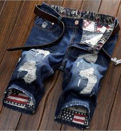 männer holey jeans Rabatt Wholesale- 2017 Promotion Echt Baumwolle Mitte Kordelzug gerade beiläufige Blumensommer Männer schließen Jeans-Shorts Kleidung Punk Herren Holey