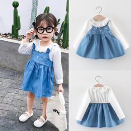 Baby boy girl dress criança crianças denim babados patchwork cat ear princesa dress roupas coréia estilo início do outono mais novo 2019 de