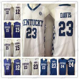 12 Città 15 cugini 23 Davis 24 Mashburn NCAA Kentucky Wildcats Pullover di pallacanestro cucita bianco blu College Basket Vendita calda Jersey da