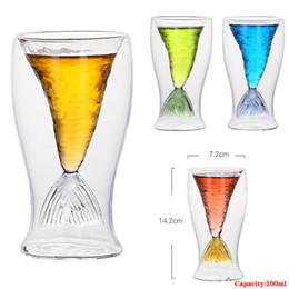 Nueva 100ml cristalina creativa cola de la sirena taza transparente de cristal de cola de pescado práctica creativa taza del vino resistente al calor tazas de vidrio Bar desde fabricantes