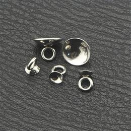 Canada vente en gros 100 PCS 4/5/6/8 / 10mm en métal en acier inoxydable Capuchon de perle pendentif connecteur Bail Bail Cap fin perles pour la fabrication de bijoux supplier pendant bead cap wholesale Offre