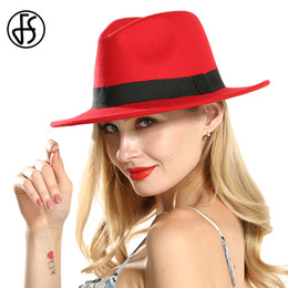 Chapéu preto vintage do jogador on-line-FS Vermelho Preto Patchwork Borda Larga Fedora Hast Vintage Para As Mulheres de Algodão Elegante Senhoras Royal Top Hat Rodada Bowler Cowboy Jazz Cap