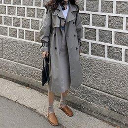 весеннее пальто корейское Скидка 2019 Весна Корейский Stye Классический Урожай Длинное Пальто Для Женщин Свободная Хлопок Ветровка Женское Пальто Двубортный Пальто