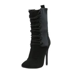 Botas x dedo del pie online-Kolnoo Ladies High Heel Boots Patchwork X-cross con cordones de punta estrecha zapatos de invierno vestido de fiesta botas de moda zapatos N056