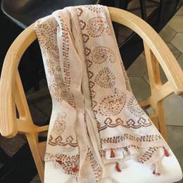Argentina 2019 nuevas mujeres de la bufanda de algodón de verano viento nacional y la bufanda anti-chai cáñamo hilo toalla flor de anacardo delgada toalla de playa de seda de la sombrilla Suministro