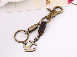 Chaveiro da escora do navio on-line-HYS134 120pcs Fast Ship criativa Bronze Alloy Anchor Chaveiro Woven Vintage Leather Keychain Keychain bonito Backpack Sorte Pendant DHL