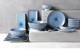 Vaisselle en céramique japonaise en Ligne-Japonais Vaisselle En Céramique Ménage Cuisine Restaurant Rayure Bleu Clair Glaçure Bol De Riz Vaisselle Assiette Ensemble Grande Assiette