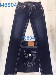 2019 männer holey jeans 2019 Mens Straight Jeans Lange Hosen Hosen Mens True Grobe Linie Religion Jeans Kleidung Mann Lässig Bleistift Hose Blau Schwarz Denim Hosen
